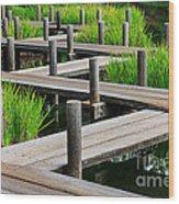 Japanese Garden Pier And Iris Wood Print