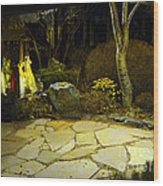 Japanese Garden Simple Shrine Lit At Night 01 Wood Print