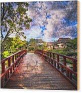 Japanese Gardens Wood Print by Debra and Dave Vanderlaan