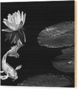 Japanese Koi Fish And Water Lily Flower Black And White Wood Print