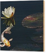 Japanese Koi Fish And Water Lily Flower Wood Print