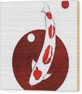 Japanese Koi Goshiki Red Circle Painting Wood Print
