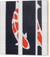 Japanese Koi Kohaku Division Painting Wood Print