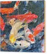 Japanese Koi Pond Wood Print