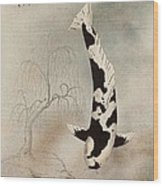 Japanese Koi Utsuri Mono Willow Painting  Wood Print