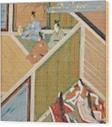 Japanese Ladies Behind Screen Wood Print