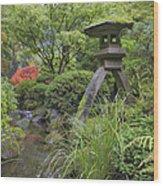 Japanese Stone Lantern By Water Stream Wood Print