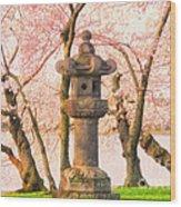 Japanese Stone Lantern Wood Print