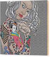 Japanese Tat Girl Grey  Wood Print