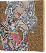 Japanese Tat Girl Leopard Wood Print