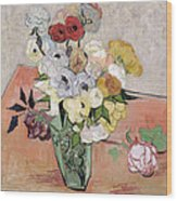 Japanese Vase With Roses And Anemones Wood Print