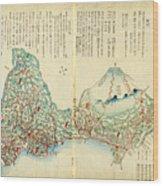 Japanese Wood Block Map Showing Mt Fuji 1830s Wood Print