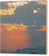 Japanese Zero Fighter Plane Taking Off At Sunset Wood Print