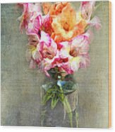 Jar Of Gladiolas Wood Print