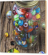 Jar Of Marbles With Shooter Wood Print by Garry Gay