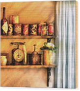 Jars - Kitchen Shelves Wood Print by Mike Savad