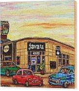Java U Cafe Jean Talon Car Wash Coffee Shop Depanneur Montreal Art Sale Cspandau                     Wood Print