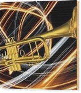 Jazz Art Trumpet Wood Print