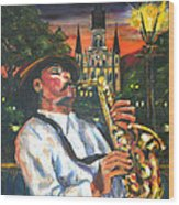 Jazz By Street Lamp Wood Print
