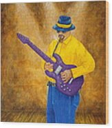 Jazz Guitar Man Wood Print