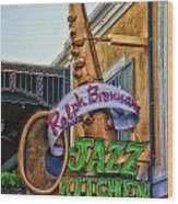 Jazz Kitchen Signage Downtown Disneyland Wood Print