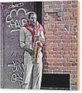 Jazz Man - Street Performer Wood Print