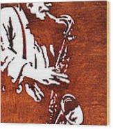 Jazz Saxofon Player Coffee Painting Wood Print