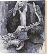 Jazz Saxophonist John Coltrane Black Wood Print