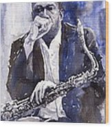 Jazz Saxophonist John Coltrane Blue Wood Print