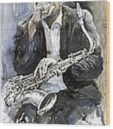 Jazz Saxophonist John Coltrane Yellow Wood Print