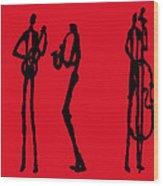 Jazz Trio In Red 2 Wood Print