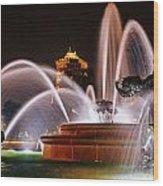 J.c. Nichols Memorial Fountain - Night Wood Print