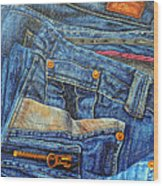 Jean Junkie Wood Print