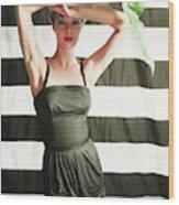 Jean Patchett Wearing Black Sunsuit Wood Print