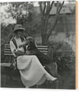 Jeanne Eagels Sitting Down On A Park Bench Wood Print