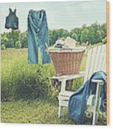 Jeans Hanging On Clothesline On A Summer Afternoon Wood Print