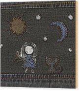 Jeans Stitches Wood Print