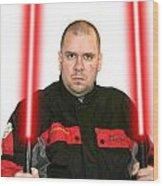 Jedi Master Randall M Rueff And Lightsaber Thirty Five Wood Print