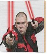 Jedi Master Randall M Rueff And Lightsaber Thirty Four Wood Print