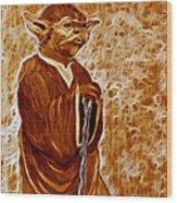 Jedi Master Yoda Digital From Original Coffee Painting Wood Print