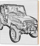 Jeep Wrangler Rubicon Illustration Wood Print