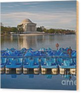 Jefferson Memorial And Paddle Boats Wood Print