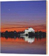 Jefferson Memorial At Dawn Wood Print