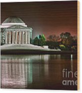 Jefferson Memorial At Night Wood Print by Olivier Le Queinec