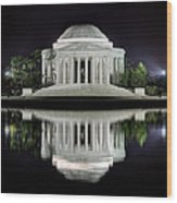 Jefferson Memorial - Night Reflection Wood Print