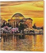 Jefferson Memorial Sunset Wood Print