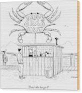 Jeff's Crab Hut Wood Print