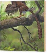 Jeholornis Prima Perched On A Tree Wood Print by Sergey Krasovskiy