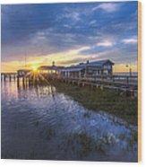 Jekyll Island Sunset Wood Print by Debra and Dave Vanderlaan