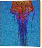 Jellyfish Ppointillized Wood Print